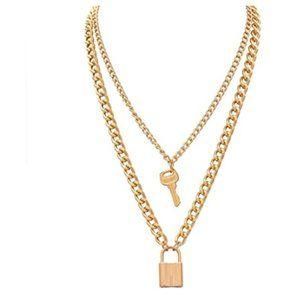 Gold Lock Key Pendant Keychain Choker